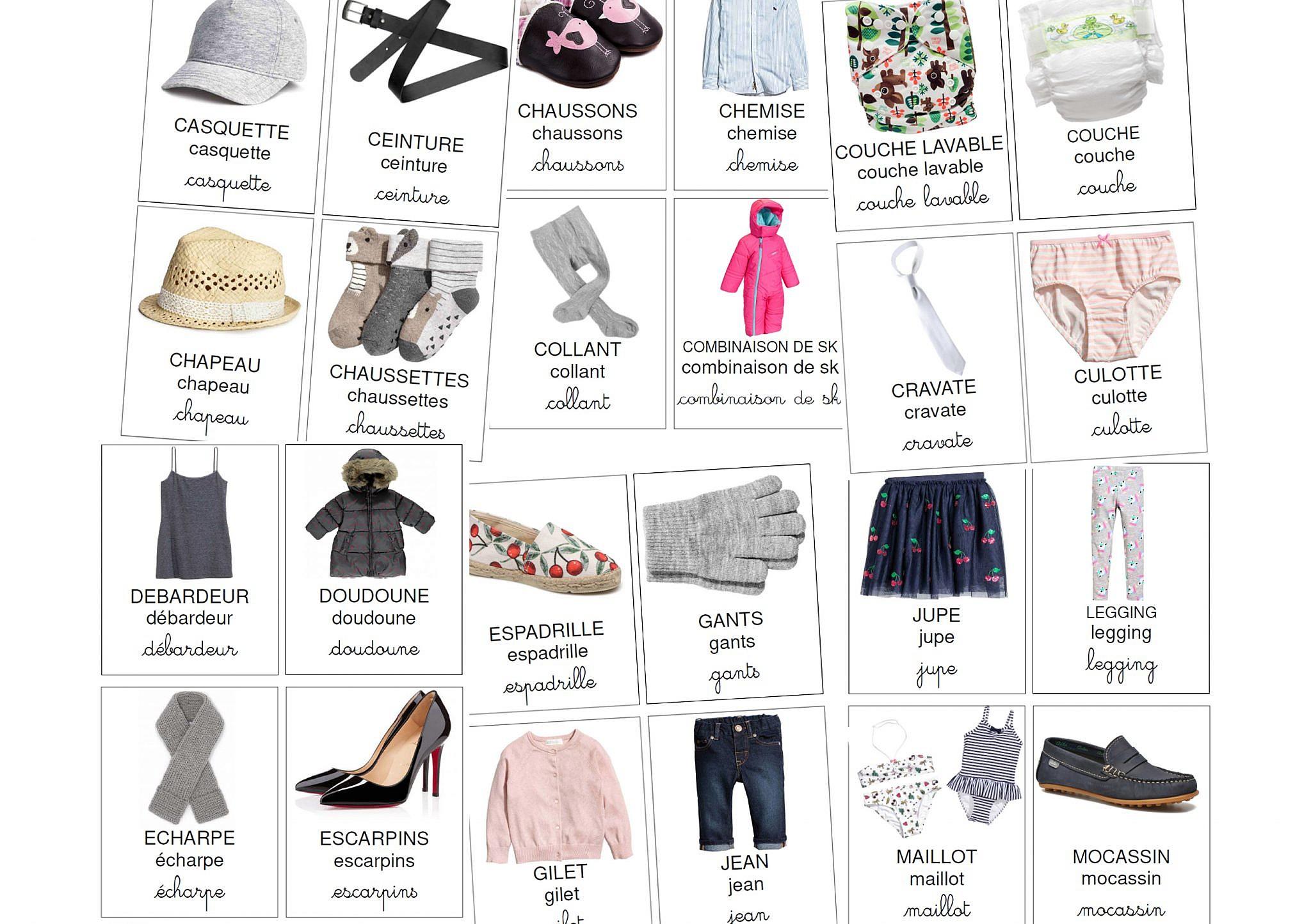 cartes de nomenclature des vêtements à télécharger - Milestory af4a2339f324