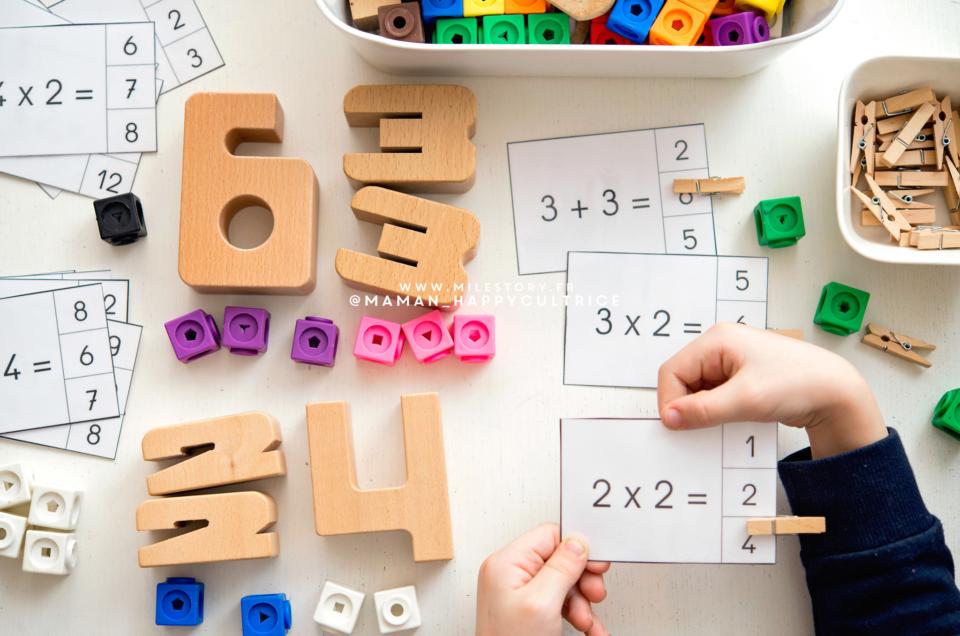 Cartes à pince table de multiplication de 2 à imprimer pour apprendre en s'amusant