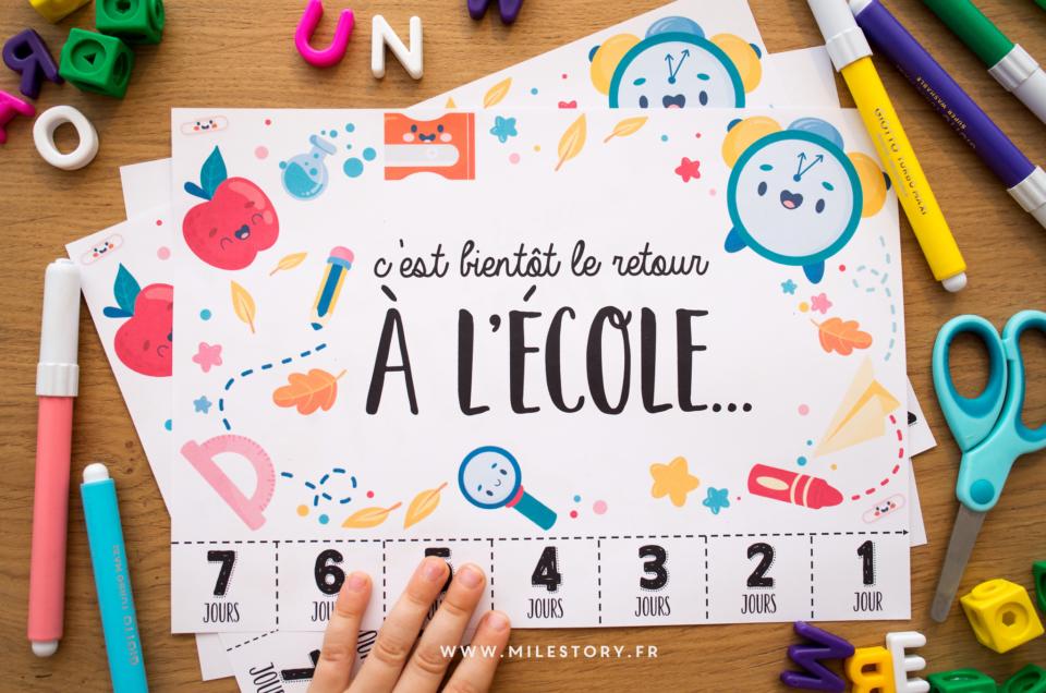 Compte à rebours avant la rentrée : Combien de jours avant l'école ? à imprimer