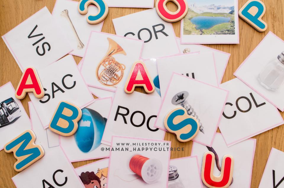 Apprentissage lecture maternelle : Série Rose Montessori script majuscules à imprimer