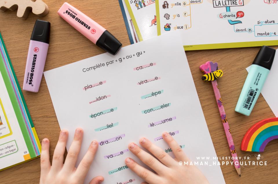 Exercice CE1 G ou GU à imprimer – orthographe