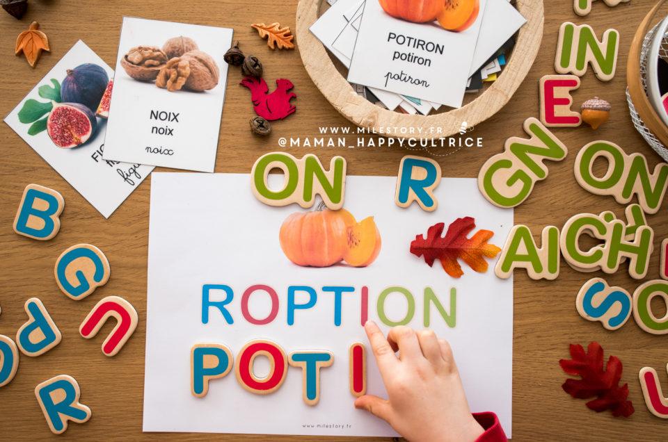 Jeu pour apprendre à écrire les mots d'automne avec les lettres de Céline Alvarez – PS, MS, GS, cp